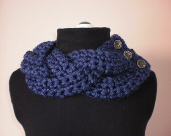 Bulky Braided Button Cowl Navy cowl  Braided cowl  Womans braided cowl  Buttoned braided cowl Crocheted cowl