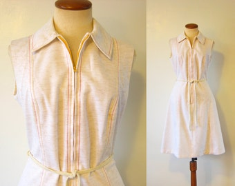 1970s Dress Sleeveless Zip Front Cream Belted Day Midi A Line Vintage 70s Red Yellow Topstitching Sundress Diner Waitress Boho M Medium