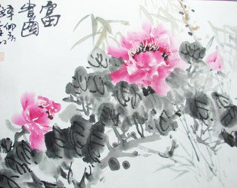 Chinese watercolor ink painting , peony flower in spring , mounted painting , famous Chinese painter - 1303