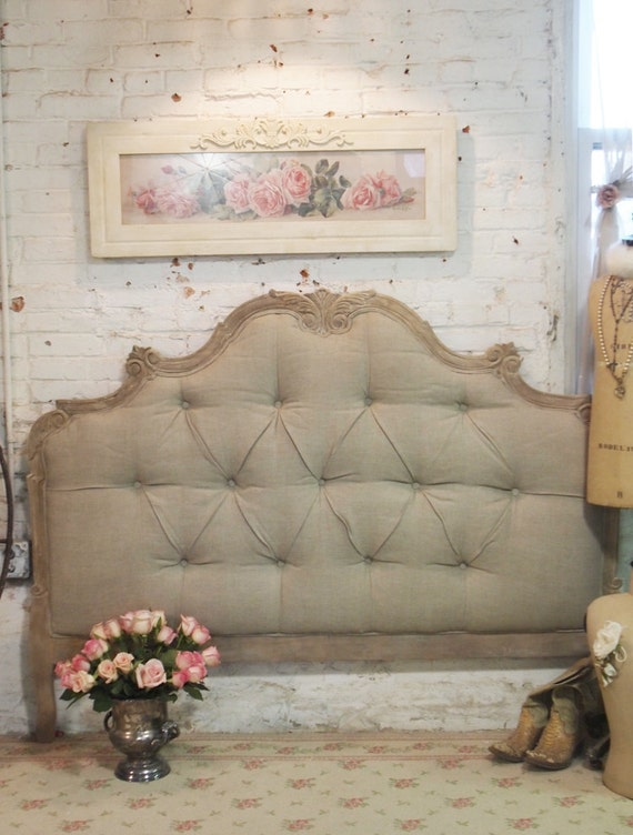 Painted Cottage Chic Shabby Tufted Upholstered Romantic French