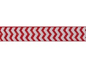 Red Chevron Printed Elastic for Baby Headbands, Elastic By The Yard - 5 Yards