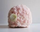 Handspun Thick and Thin Knit Newborn Flower Beanie - Blush Pink
