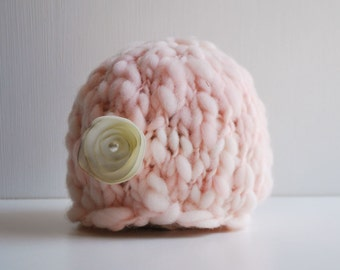 Handspun Thick and Thin Knit Newborn Flower Beanie - Blush Pink