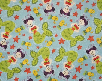 Mermaid Fabric on Turquoise Background-Quilts-Curtains-Bedskirts-Twirly Skirts