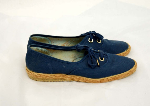 grasshopper canvas shoes blue sneakers 1970s 70s by