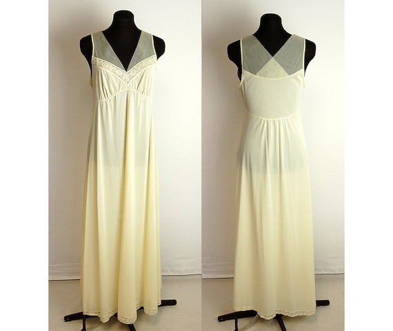 1960s nightgown, Shadowline, chiffon bodice, crossover back, full length nightgown, butter cream, Size M