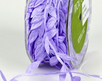 Leaf Satin Ribbon - Lavendar - 1 inch  - You Choose Yards