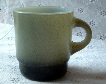 1970's Vintage - GREY Anchor Hocking Fire King MILK Glass Grey Black & White Coffee Mug Cup