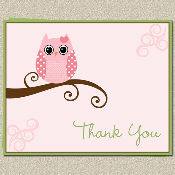 owl baby shower thank you cards in pink for