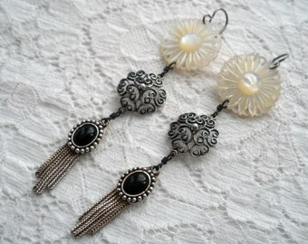 Antique Carved Mother of Pearl Onyx and Sterling Tassel Earrings