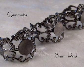 Filigree Ring - Gunmetal - Adjustable Band - 8mm glue pad - 3 pcs - sku 04.04.13.8 - Q19