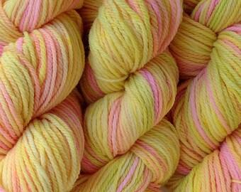 Handpainted Merino Wool DK Sport Weight Yarn in Mango Tango Yellow Pink Green