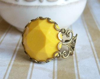 Mustard Yellow Vintage Ring, Filigree Mustard Yellow Ring