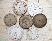 Set of 7 Porcelain Enamel Pocket Watch Faces