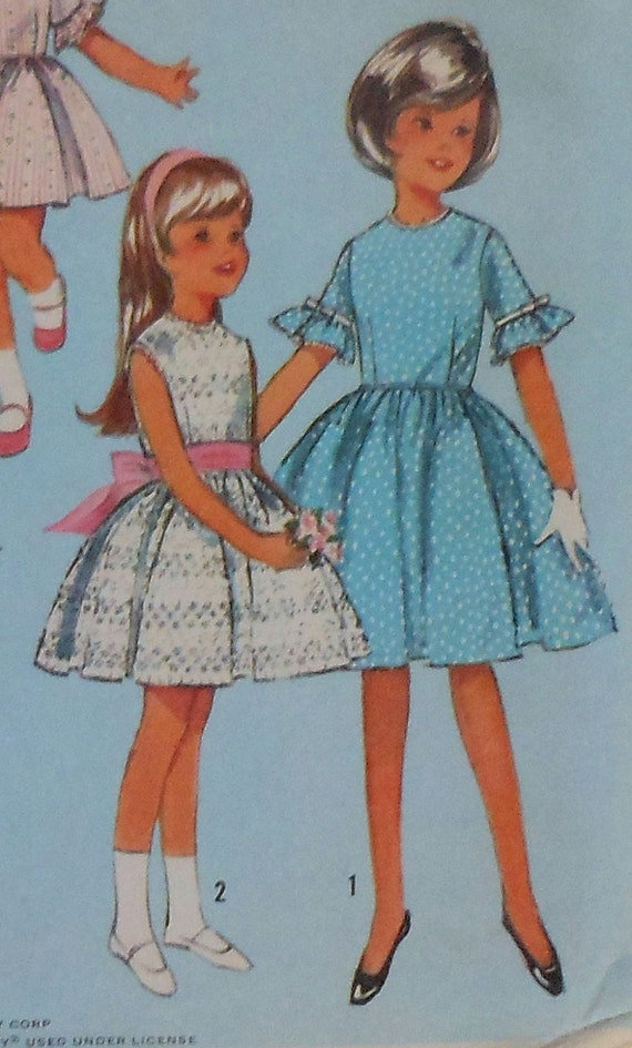 Vintage Girls Summer Dress Sewing Pattern Simplicity 5859 Size