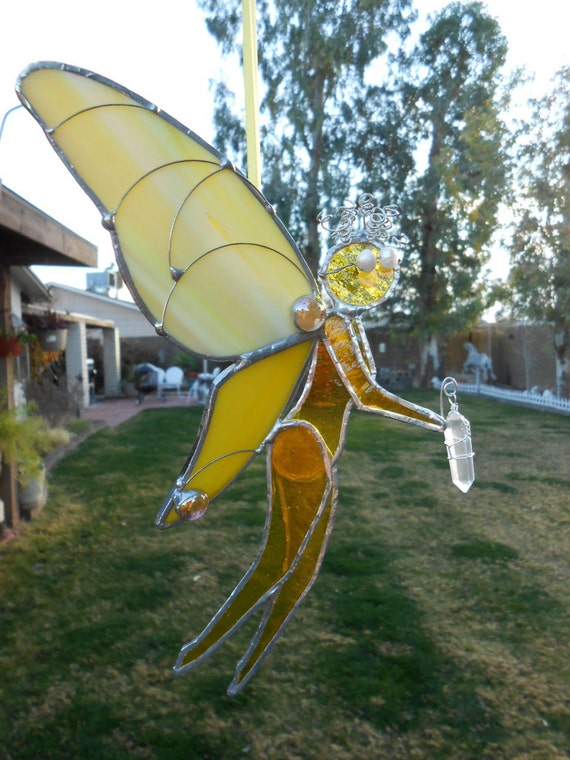 Stained Glass Fairy - Yellow - Suncatcher