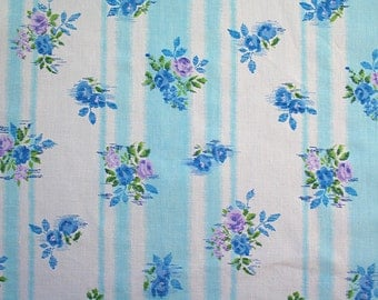 turquoise stripes and posies, a vintage sheet fat quarter