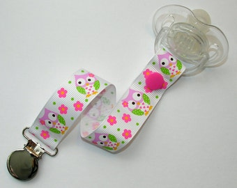 Spring Owls Soothie / Pacifier Clip