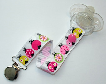 Colorful Ladybugs Soothie / Pacifier Clip