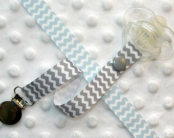 Gray or Light Blue Chevron Stripe Pacifier Soothie Clip Holder