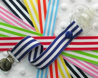 Basic Stripe Pacifier Clip Soothie Holder
