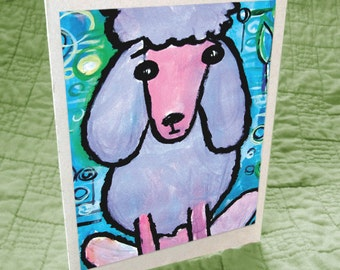 Purple Poodle Greeting Card