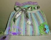 Sweet Pea Terrifically Textured Cotton Tote - purse, handbag, white, lavender, green, summer, cotton, bag, tote bag, market bag, clutch