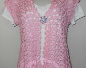 Pink Petals Summer Shells Cardi - clothing, apparel, women, pink, rose, summer, lacy, crochet, cardigan, sweater, vest