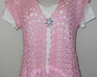Pink Petals Summer Shells Cardi - clothing, apparel, women, pink, rose, summer, lacy, crochet, cardigan, sweater, vest
