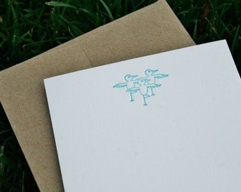 Yoga Birds letterpress stationery - by Tiny Pine Press