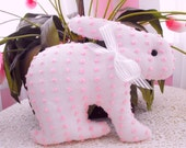 PINK BUNNY RABBIT Vintage Chenille Pillow With Satin Bow