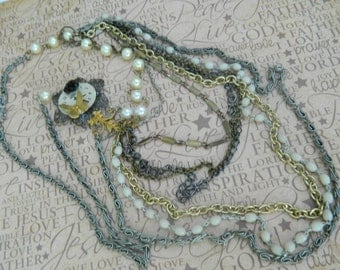 Multi Stranded Assemblage Long Necklace,OOAK,Repurposed,Mixed Metals