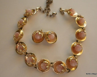 Vintage Moonglow Bead Necklace Earrings in Gold Tone Shell Cups