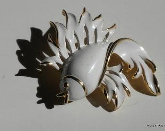 Vintage White Enamel Fish Brooch