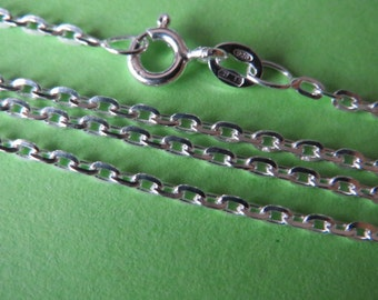 2 pcs Sterling silver 18 inch italian smooth oval links chain