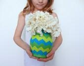 Blue Green Vase /  Geometric Home Decor / glass and concrete vessel