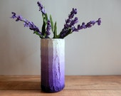 Ombre Purple Vase /  lilac  flower vase / dusty pastel purple / concrete and glass vase