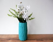 Teal Vase / Teal Home Decor / Concrete and Glass Vases / made to order