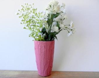 Deep Rose Pink Vase / Pink vases / pink home decor / stained concrete vase