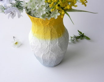 Yellow and grey ombre Vase / lemon Yellow home decor / handcrafted vase / yellow flower vase / large yellow vase