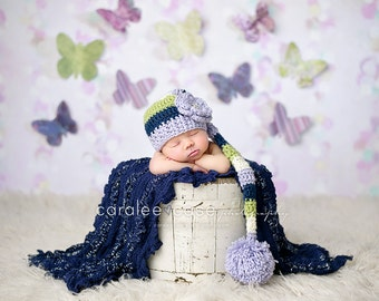 Elf Hat in Lavender, Navy, Sweet Pea, and Cream