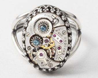 Steampunk Ring Vintage Elgin watch movement with gears in filigree silver cocktail ring blue aquamarine crystal Statement ring jewelry gift