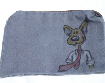 Upcycled Zipper Pouch with Hand Drawn Mouse Man