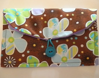 Clutch Purse/Wallet-Brown with Purple/Turquoise Flowers