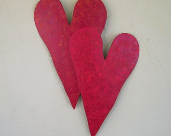 Metal wall art sculpture heart duo upcycled metal wall decor red wedding anniversary love