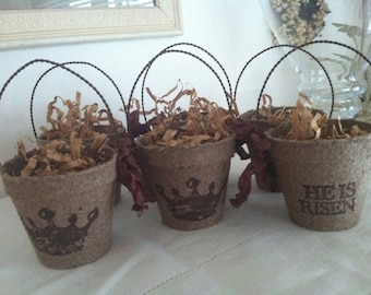 Easter cups/baskets, candy cups, religious cups, Easter table decor, rustic Easter