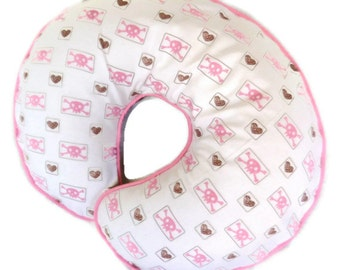 Girls Boppy Pillow Cover Pink Skulls and Brown Hearts