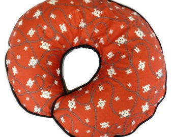 Boppy Pillow Cover Red Skull and Crossbones and Barbwire Nursing Pillow Cover for baby boy or girl