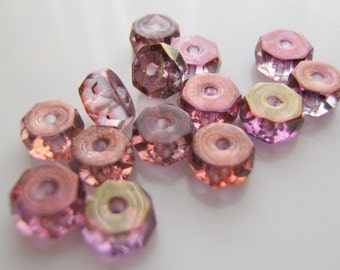 Gorgeous Two Tone Pink/Purple Luster  Rondelles/Discs Glass Czech Beads