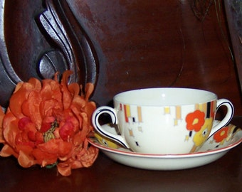 Vintage Art Deco Two Handled Cream Soup Bowl and Saucer Hand Painted Porcelain Colorful Floral Geometric Design